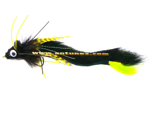 Streamer for Pike Black/Chartreuse #1/0